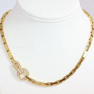 18k Yellow Gold Agrafe Diamond Necklace.